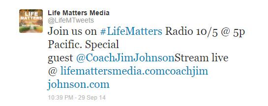 Life Matters Tweet