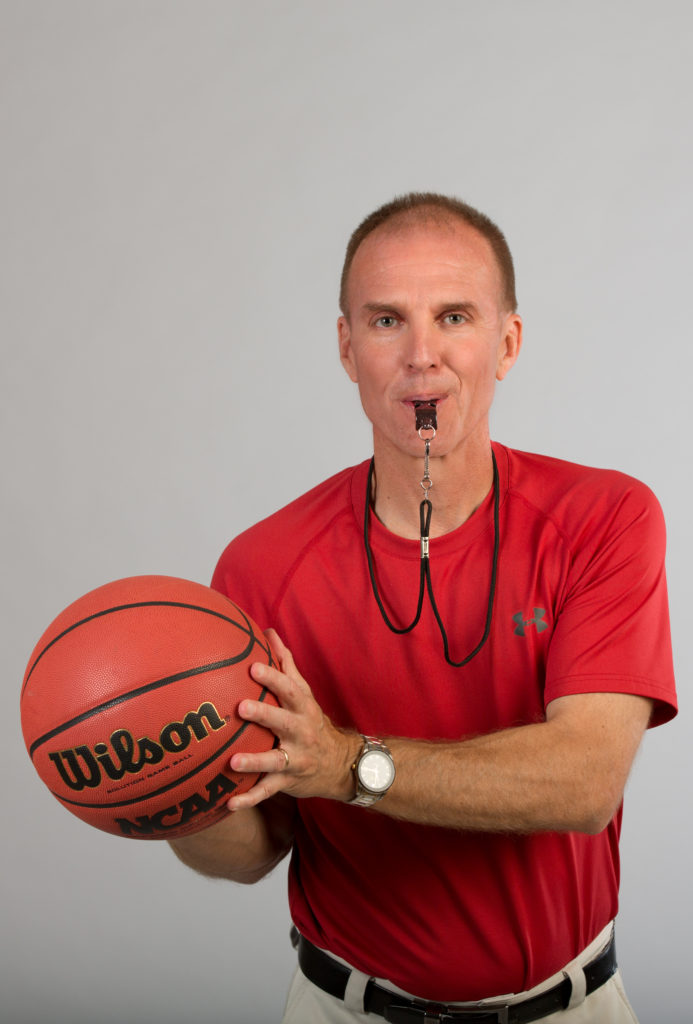 Jim Johnson High Res Red Shirt Basketball and Whistle
